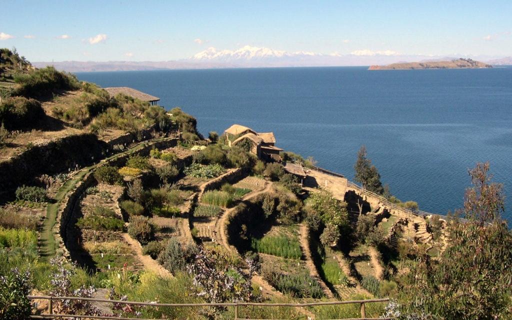 A l'horizon : le Lac Titicaca