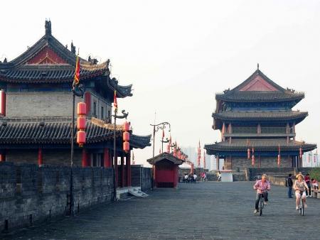 Balade en vélo sur les remparts de Xian