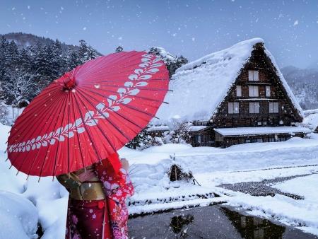 La magie de Shirakawa-go et ses toits de chaume sous la neige