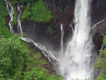Admire the waterfalls near Mount Nantai