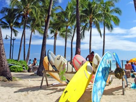 Waikiki Beach, la ville du Surf