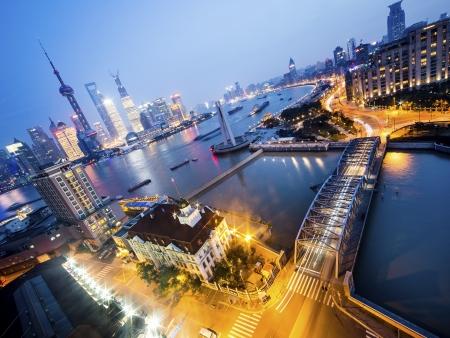 La vieille ville et le fleuve Huangpu