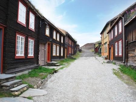Røros aux maisons en bois sombre